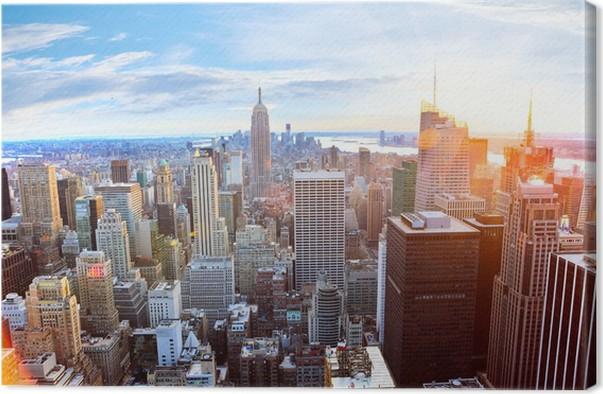 Tableau sur toile vue a rienne de manhattan au coucher du - Coucher du soleil new york ...