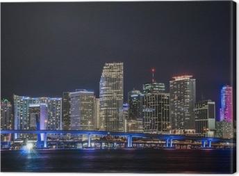 Tableau sur toile Vue d'ensemble de la place financière de Miami la nuit