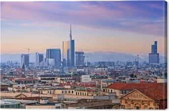 """Tableau sur toile Vue de l `Milan quartier d'affaires de"""" Duomo di Milano """"."""