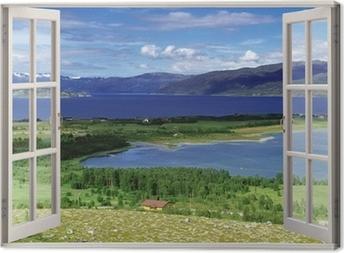 Tableaux sur toile norv ge pixers nous vivons pour for Fenetre ouverte sur paysage