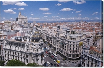 Tableau sur toile Vue de la Gran Via de Madrid (Espagne)