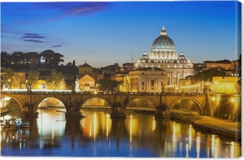 Tableau sur toile Vue de nuit de la basilique Saint-Pierre et le Tibre, à Rome, en Italie
