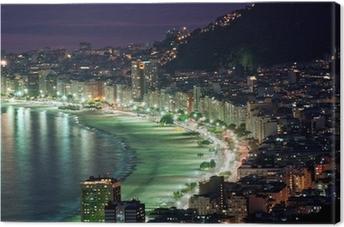 Tableau sur toile Vue de nuit de la plage de Copacabana. Rio de Janeiro