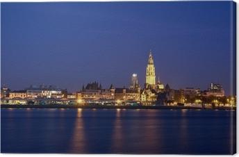 Tableau sur toile Vue de nuit sur la ville d'Anvers