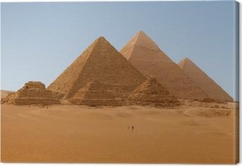 Tableau sur toile Vue panoramique de six pyramides égyptiennes de Gizeh, en Egypte