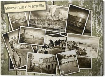 Tableau sur toile Vues collage de Marseille, des photos en noir et blanc sur un b en bois