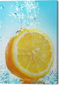 Tableau sur toile Water splash on lemon