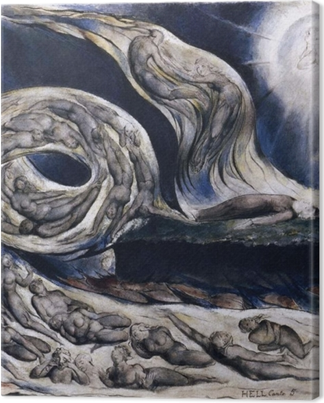 Tableau sur toile William Blake - La Tourmente des amants - Reproductions