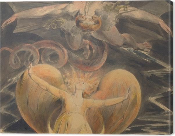 Tableau sur toile William Blake - Le grand Dragon Rouge et la Femme vêtue de soleil - Reproductions