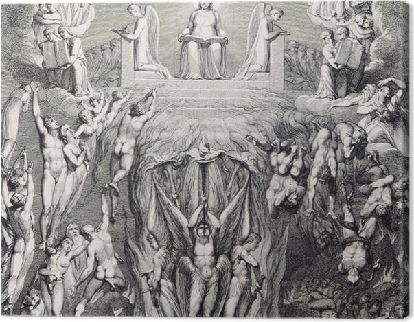 Tableau sur toile William Blake - Une vision du Jugement dernier, - Reproductions