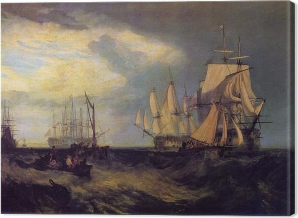 Tableau sur toile William Turner - L'équipage du bateau Spithead récupérant une ancre - Reproductions