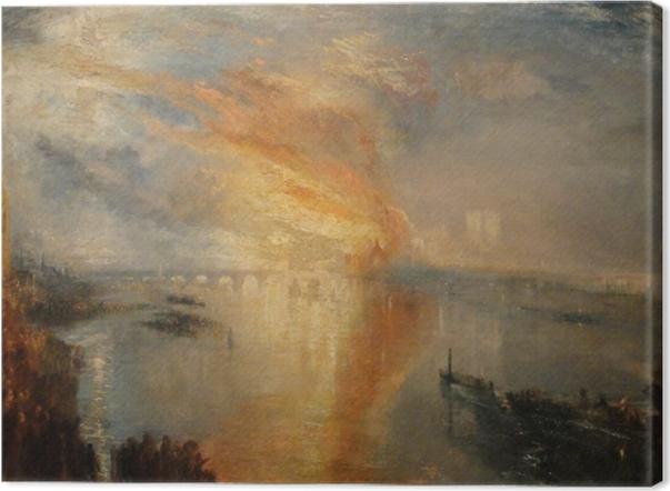 Tableau sur toile William Turner - L'Incendie de la Chambre des Lords et des Communes, le 16 octobre 1834, - Reproductions