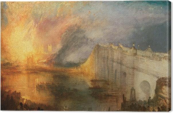 Tableau sur toile William Turner - L'Incendie de la Chambre des Lords et des Communes, le 16 octobre 1834 - Reproductions