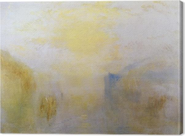 Tableau sur toile William Turner - Lever de soleil avec un bateau entre bouts de terre - Reproductions