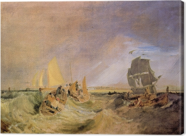 Tableau sur toile William Turner - Shipping at the Mouth of the Thames - Reproductions