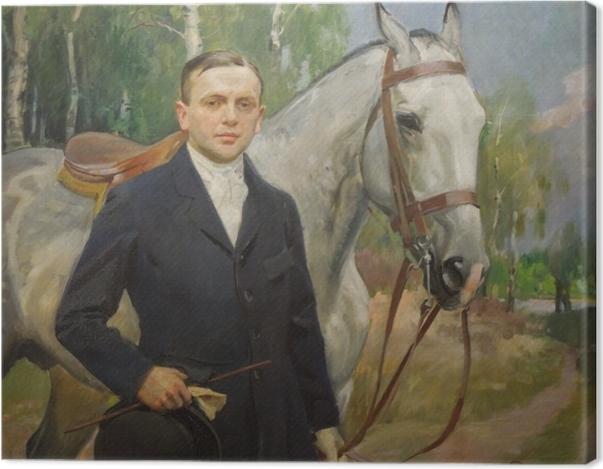 Tableau sur toile Wojciech Kossak - Portrait de Bronisław Krystall avec un cheval - Reproductions