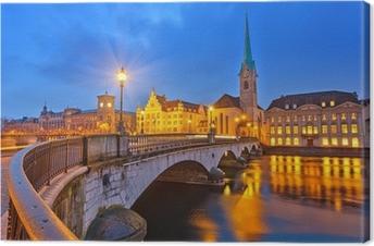 Tableau sur toile Zurich la nuit