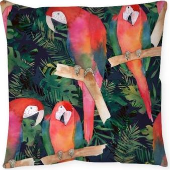 Taie d'oreiller Aquarelle transparente avec des perroquets colorés et des feuilles tropicales. impression exotique