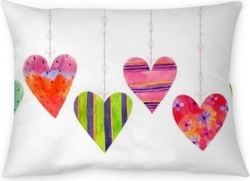 Taie d'oreiller Beau dessin animé aquarelle transparente amour coeurs Saint Valentin, éléments d'une collection et illustrations isolées sur fond blanc. parfait pour des vacances valentines. bon pour la carte de l'amour