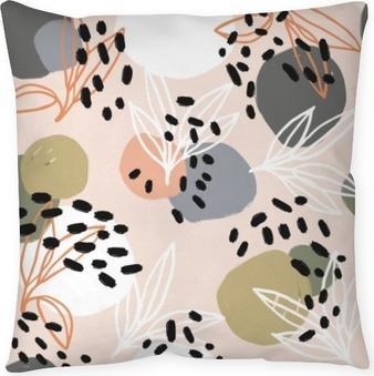 Taie d'oreiller Collection de motifs abstraits modernes. modèle de héros avec des coups de pinceau, des formes et des éléments floraux. couleurs pastel à la mode. numérique minimaliste. impression sur tissu, papier d'emballage, affiche, flyer, bannière