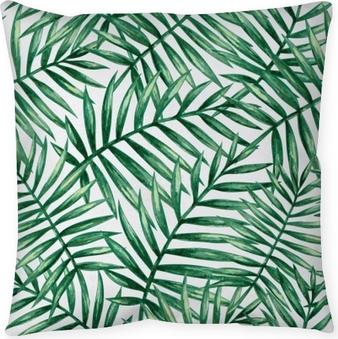 Taie d'oreiller Feuilles de palmier tropical aquarelle transparente motif. illustration vectorielle