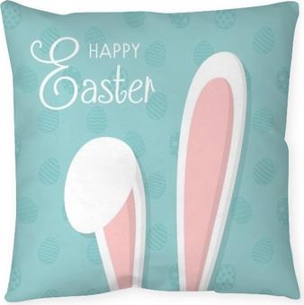 Taie d'oreiller Joyeuses Pâques - carte avec lapin et souhaits. vecteur.