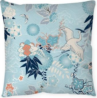 Taie d'oreiller Kimono fond avec des grues et des fleurs