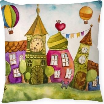 Taie d'oreiller Maisons de fées colorées