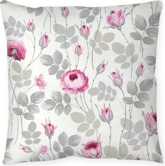 Taie d'oreiller Motif floral sans couture avec des roses dans des couleurs pastel