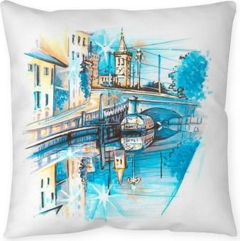 Taie d'oreiller Pont à travers le canal grande naviglio au lever du soleil, milan, lombardia, italie. croquis fait liner et marqueurs