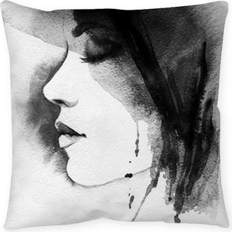 Taie d'oreiller Portrait de femme. aquarelle abstraite. mode arrière-plan