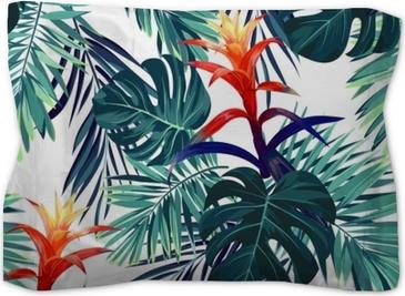 Motif floral sans soudure étiré à la main avec des fleurs de guzmania, monstera et feuilles de palmier royal. fond de vecteur hawaïen exotique. Taie d'oreiller décorative