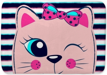 Tapis de bain Chaton rose mignon avec un arc rose sur fond rayé. impression fille avec minou pour t-shirt
