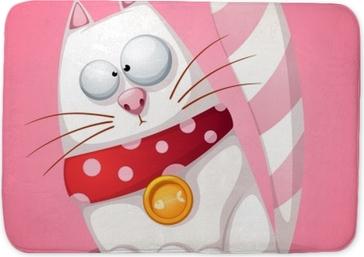 Tapis de bain Drôle, mignon, dessin animé fou vecteur de chat eps 10