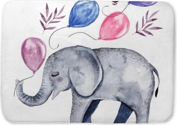Tapis de bain Illustration mignonne avec bébé éléphant et ballons