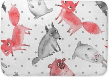 Tapis de bain Modèle sans couture avec des animaux de la forêt de dessin animé 2. loup, ours, renard et lièvre