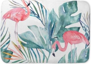 Tapis de bain Modèle sans couture tropical avec flamant et feuilles. impression d'été aquarelle. illustration exotique dessinés à la main