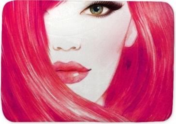 Tapis de bain Visage de belle femme. cheveux longs et sains. illustration aquarelle de mode abstrait