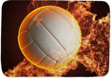 Tapis de bain Volley-ball balle dans le feu