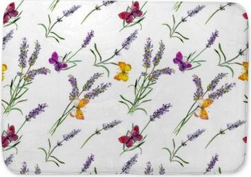 Tappetino per bagno Fiori di lavanda, farfalle. modello acquerello senza soluzione di continuità