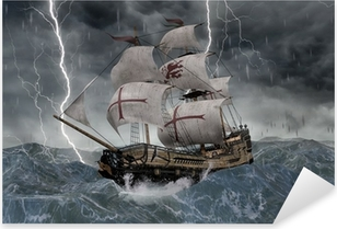3d segelschiff galeone in stürmischer katso Pixerstick tarra