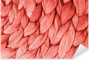 Abstrakti kudottu matta tekstuuri taustalla elävä koralli väri. vuoden trendikäs käsite väri. Pixerstick tarra