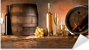 Asetelma valkoisella viinillä Pixerstick tarra