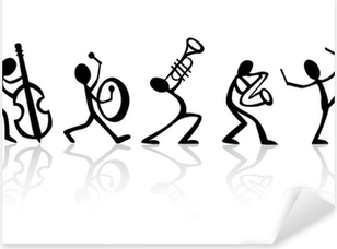 Bändi muusikoita, jotka soittavat musiikkia, vektori sopii t-paitoihin Pixerstick Tarra