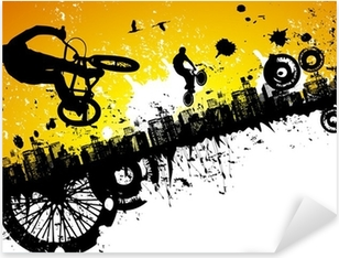 Bmx ratsastajia kaupungin taustalla Pixerstick tarra