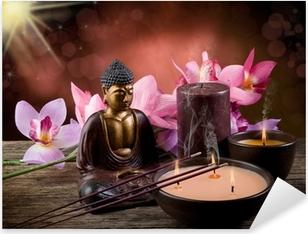 Buddah witn kynttilän ja suitsukkeita Pixerstick tarra