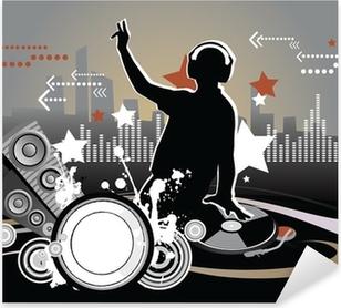 Dj, musiikki käsite, kuvitus Pixerstick tarra