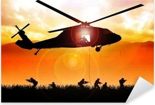 Helikopteri laskee joukkoja Pixerstick Tarra