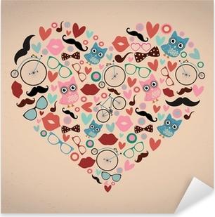 Hipster-doodles asetettu sydämen muotoon Pixerstick tarra