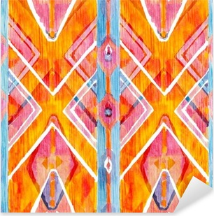 Ikat geometrinen punainen ja oranssi autenttinen kuvio akvarellisessa tyylissä. akvarelli saumaton. Pixerstick tarra